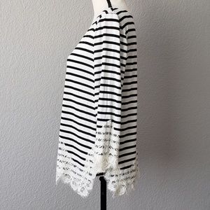 White House Black Market Tops - WHBM long sleeve striped shirt w/ lace accents